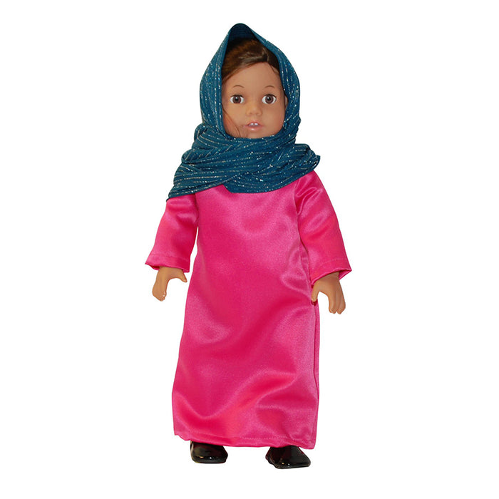 Middle Eastern Pink Dress with Blue Headscarf