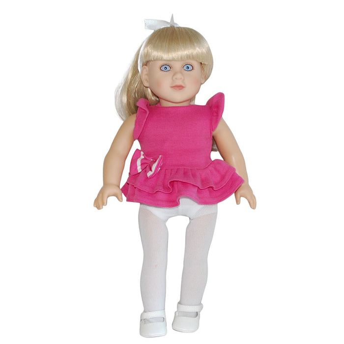 "Connie - 18"" Doll in pink dress and leggings"