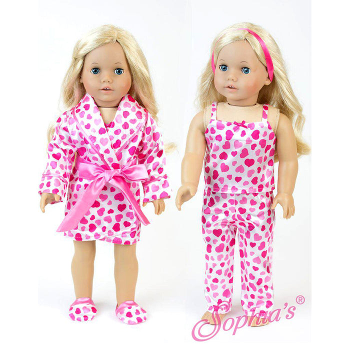 "18"" Doll Heart Print Satin PJs, Robe and Slippers"