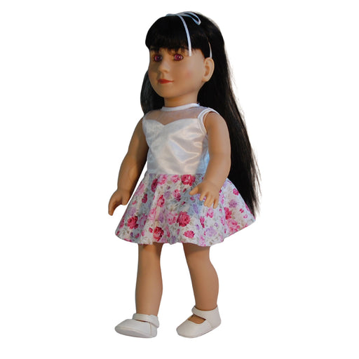 "Marianne - 18"" Doll in White and Red Flower Dress"