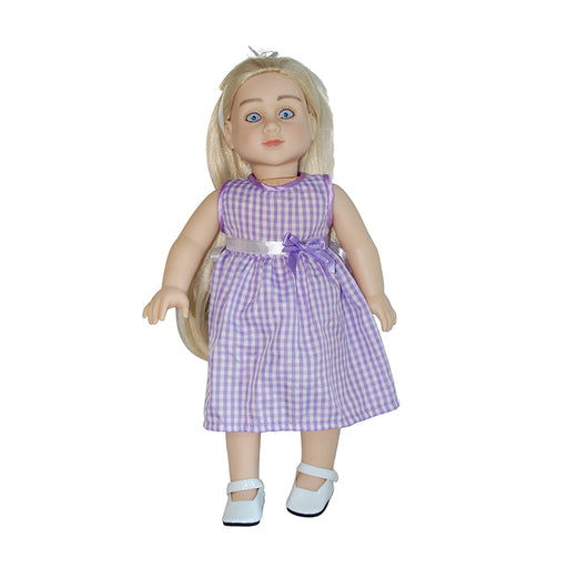 "Sharon - 18"" Doll in Purple-White Gingham Dress"