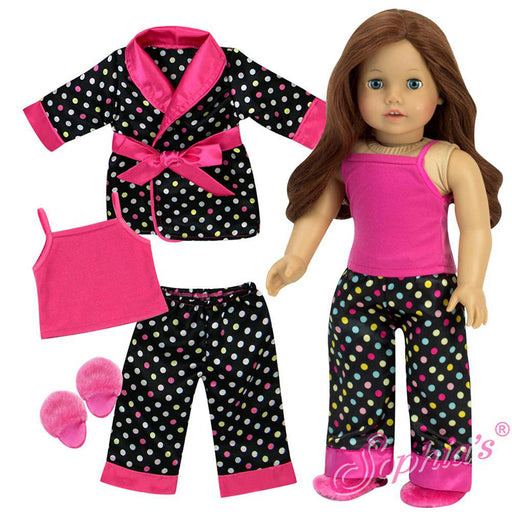Black Polka Dot Satin PJs