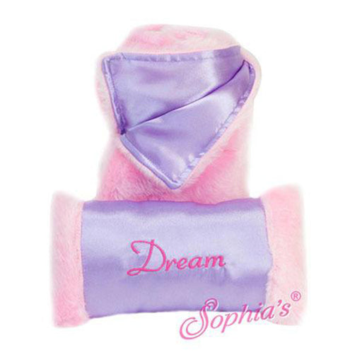 Pink Fur & Lavender Satin Sleeping Bag and Pillow
