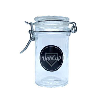 dab cap folding clasping glass herb jar