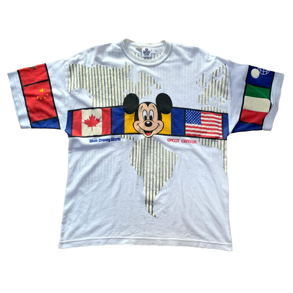 Vintage Epcot Disney All Over Print T Shirt (XL)