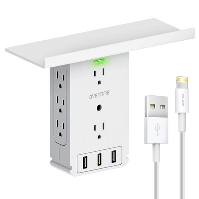Outlet Shelf- Multi-Port Wall Charger Surge Protector - with MFi Certified Lightning Cable (6ft)