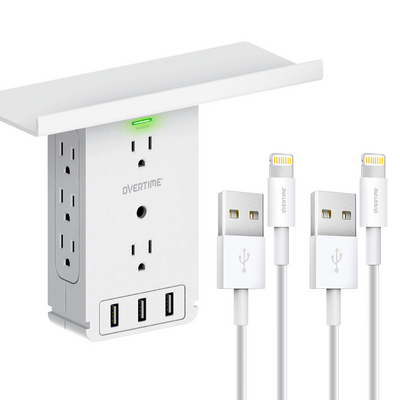 Outlet Shelf - Multi-Port Wall Charger Surge Protector - with Two MFi Certified Lightning Cable (6ft)