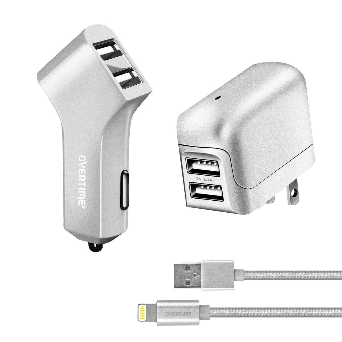 Apple MFI Certified Dual USB Wall & Car Charger with Lightning Cable - VarietySell