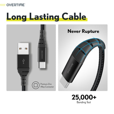 Overtime USB Type C Premium Braided Cable Fast Rapid Charging USB Cable 6 Ft Black (4 Pack)
