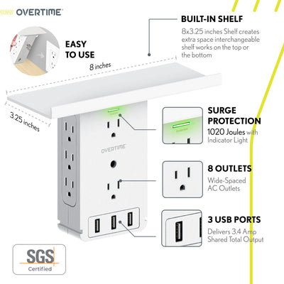 4 Pack Socket Shelf - Wall Charger Surge Protector with 8 AC Outlets and 3 USB Ports