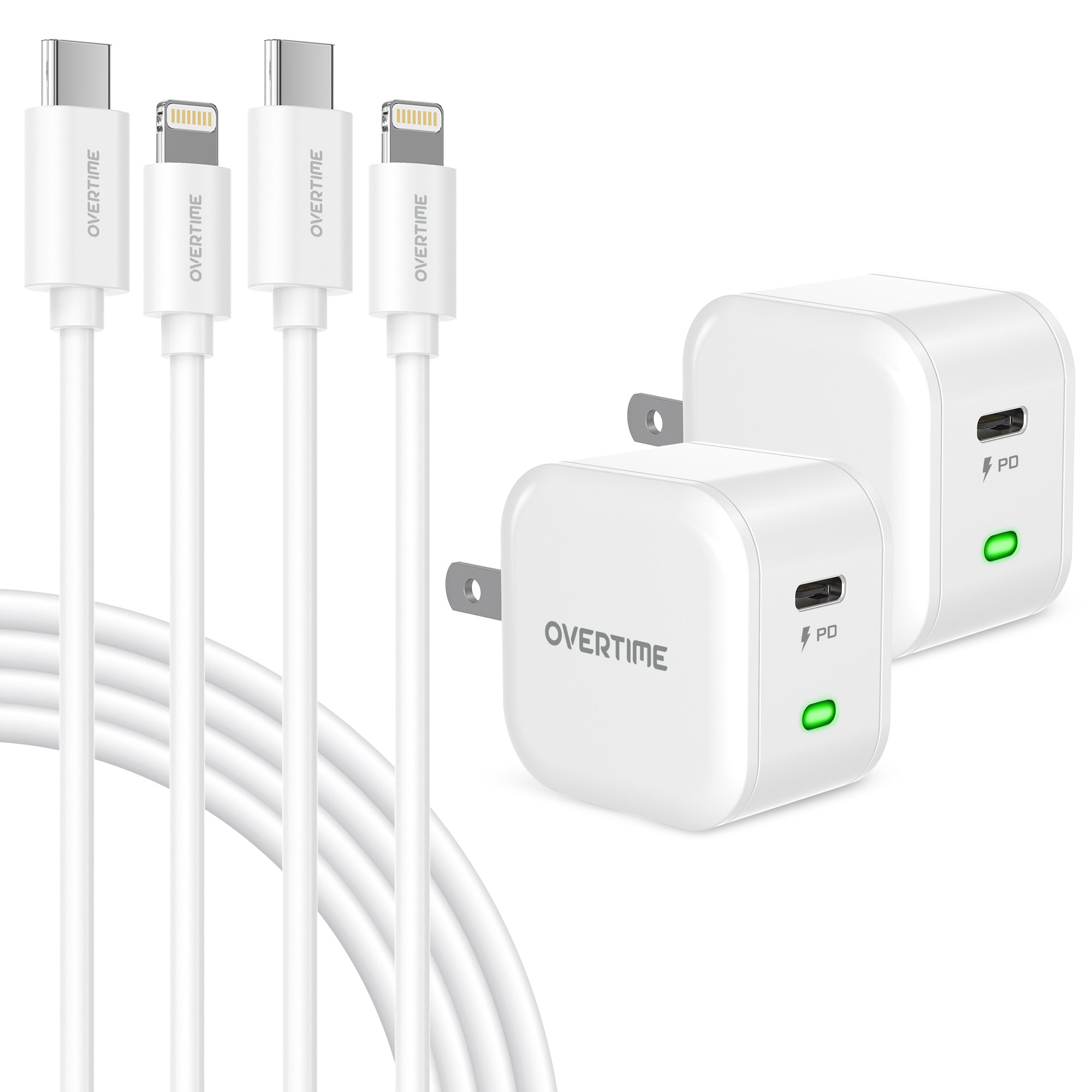 Type-C Charger Set, 20W Charger and Type-C-Lightning Cable for iPhone- White (2-Pack 6ft)