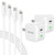 Type-C Charger Set, 20W Charger and USBC-Lightning Cable for iPhone (2-Pack 6ft, 10ft) - White