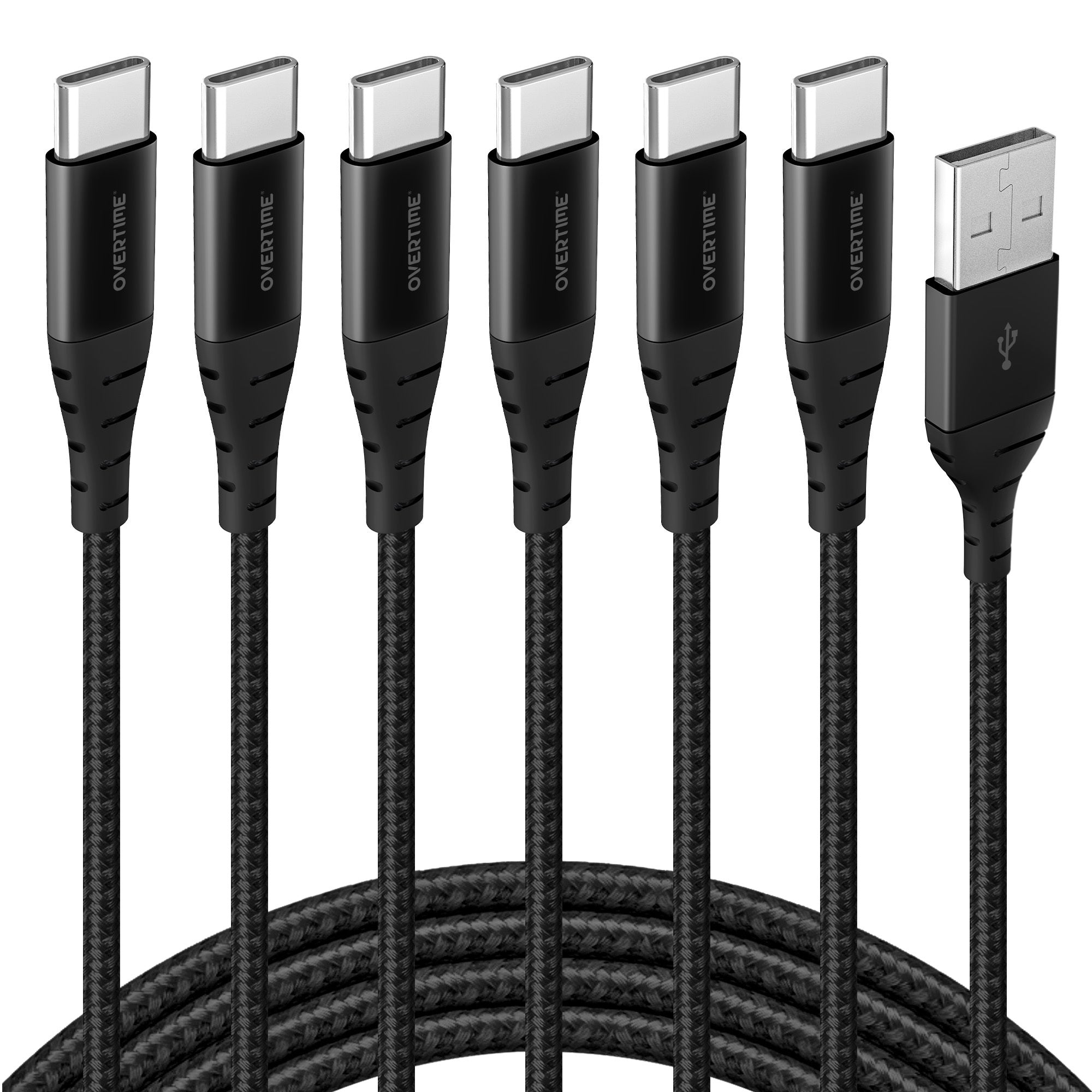 Overtime USB Type C Premium Braided Cable Fast Rapid Charging USB Cable 6 Ft Black (6 Pack)