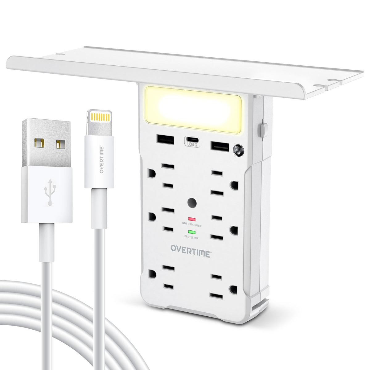 USB Outlet Shelf Night Light - Multi Plug Outlet Extender - Surge Protector with Apple MFi Cables (4ft)