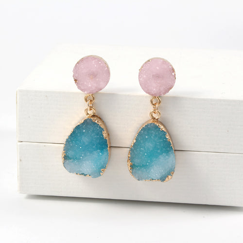 Resin Stone Water Drop Earrings