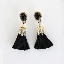 Oval Thread Long Tassel Earrings