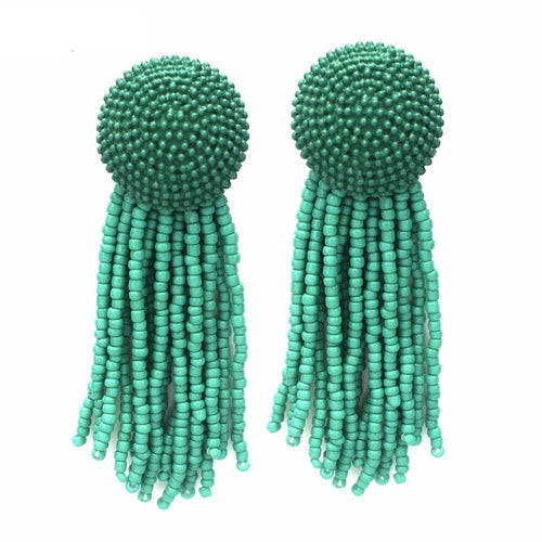 Beaded Tassel Long Earrings