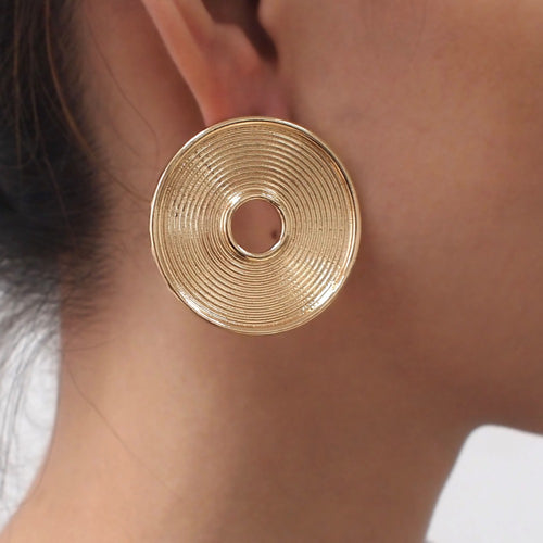 Big Round Alloy Indian Stud Earrings