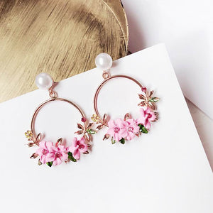Circle Flower Drop Earrings