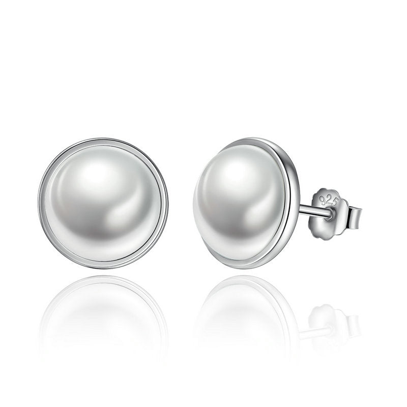 925 Sterling Silver  Round White Pearl Stud Earrings