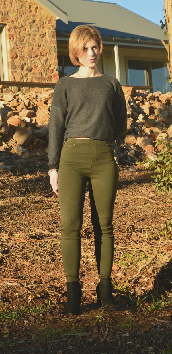 Stretch Denim Jegging Khaki