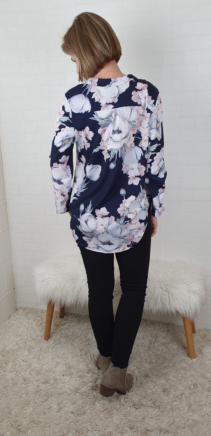 Mandarin Collar 3/4 Sleeve Shirt - Navy Floral
