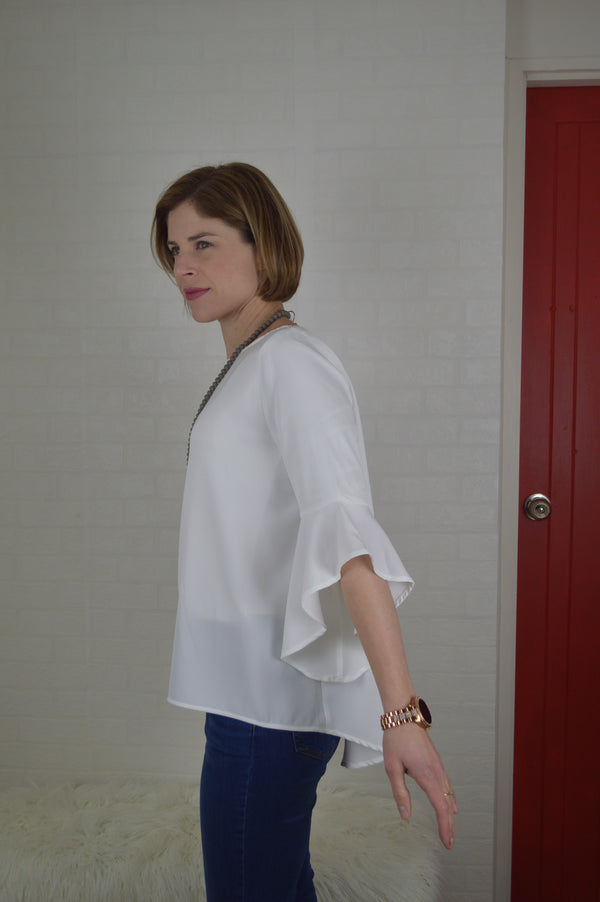 Lucy Bell Sleeve Top White