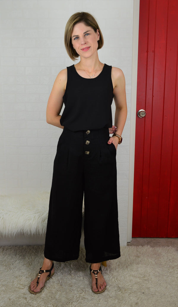 Heidi Button Front Crop Pant