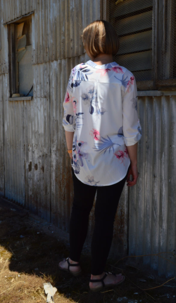 Mandarin Collar Shirt - White Floral