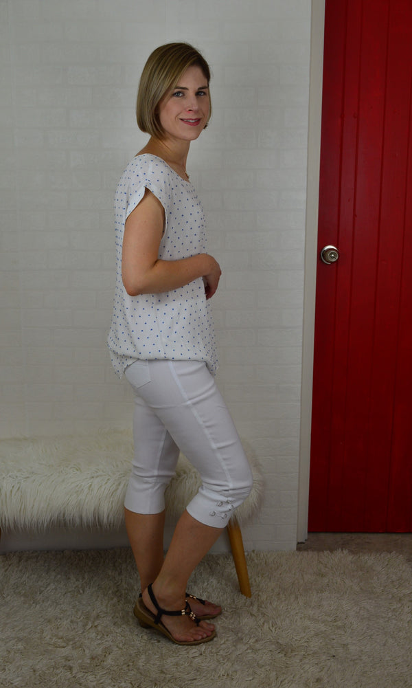 Lydia Pull On 3/4 Pant - White