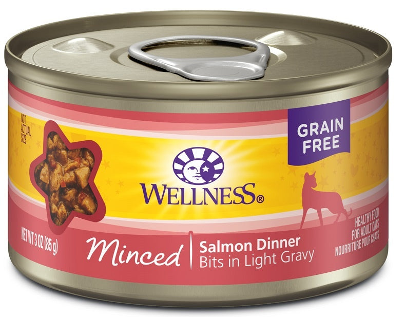 Wellness Grain Free Natural Minced Salmon Dinner Wet Canned Cat Food