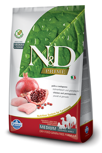 Farmina Prime N&D Natural and Delicious Grain Free Medium Adult Chicken & Pomegranate Dry Dog Food