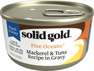 Solid Gold Five Oceans Grain Free Mackerel & Tuna in Gravy Recipe Canned Cat Food
