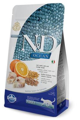 Farmina Ocean N&D Natural and Delicious Ancestral Grain Adult Cod, Spelt, Oats & Orange Dry Cat Food