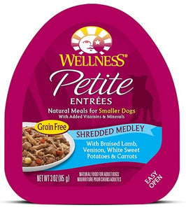 Wellness Small Breed Natural Petite Entrees Shredded Medley with Braised Lamb, Venison, White Sweet Potatoes and Carrots Dog Food Tray