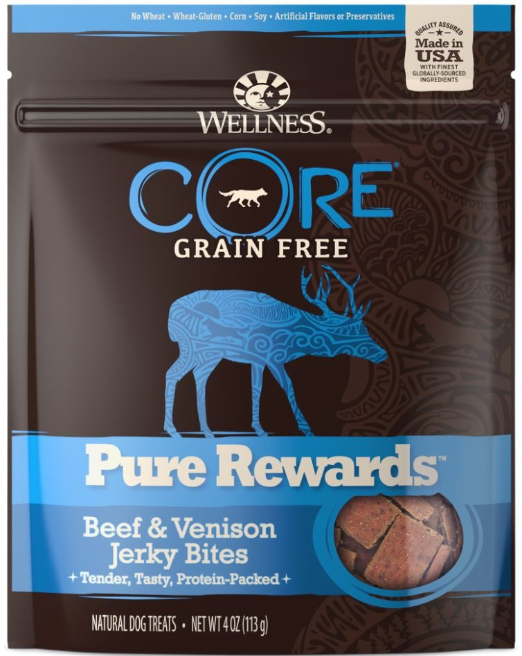 Wellness CORE Natural Grain Free Pure Rewards Beef and Venison Recipe Jerky Bites Dog Treats