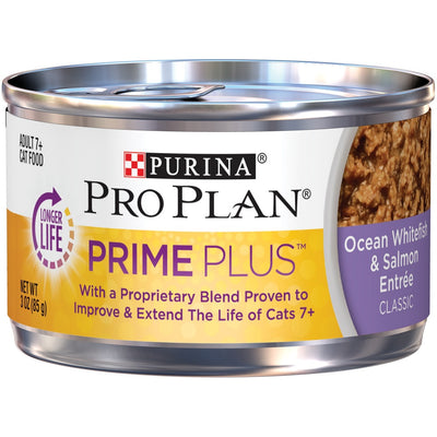 Purina Pro Plan Prime Plus 7+ Ocean Whitefish & Salmon Entree Classic Canned Cat Food