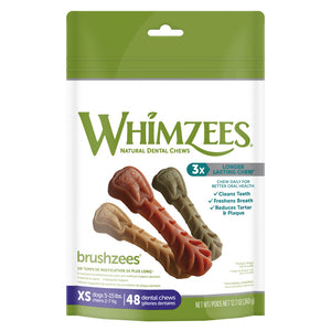 Whimzees Brushzees Natural Daily Dental Extra Small Breed Dog Treats