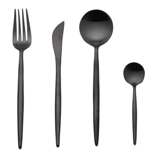 """Black Silver"" Luxury Cutlery - Set of 4 pieces"