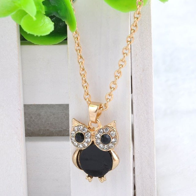 Crystal Pendant Necklace Owl Design