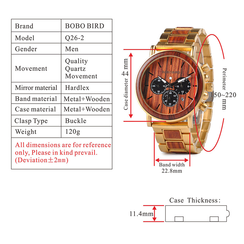 Luxury Chronograph Wooden Men Watch
