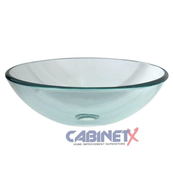 Round Clear Glass Vessel