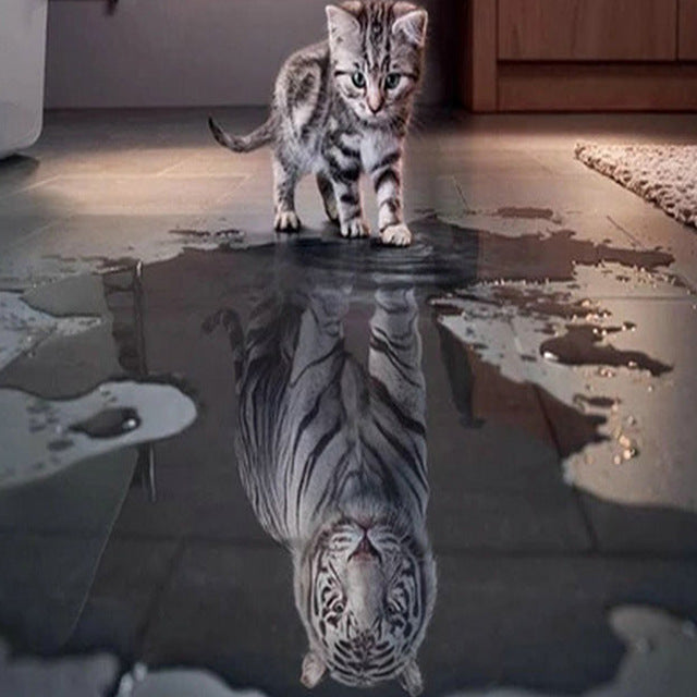 Cat Tiger Reflection Diamond Painting