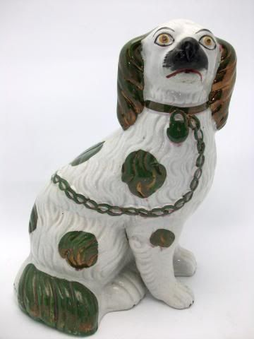 Staffordshire Green Copper Lustre Dog