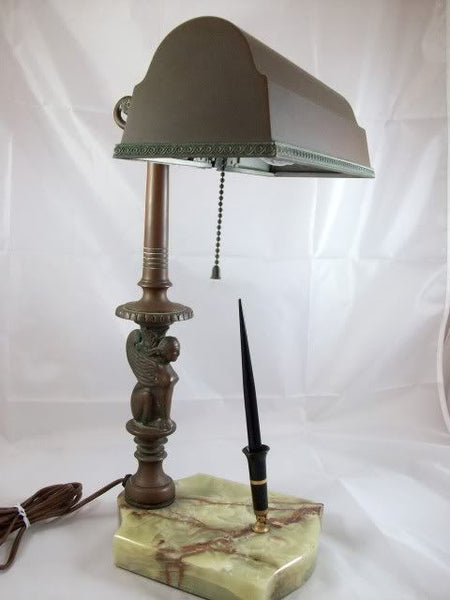 Bronze Sphinx Onyx Desk Fountain Lamp
