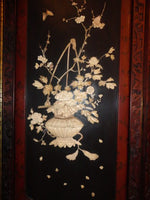 Antique Oriental Floor Screen Panel Ivory MOP Rosewood