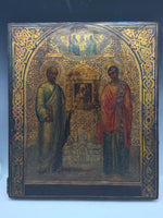 Russian 18th Century Icon Two Saints