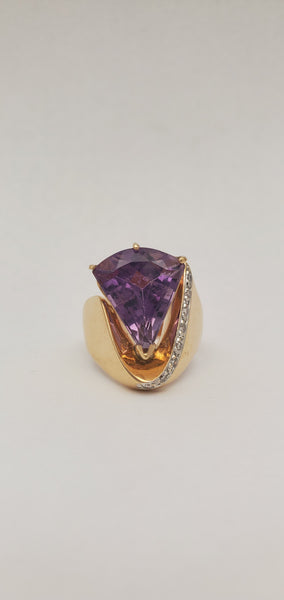 14K Amethyst Diamond Ring
