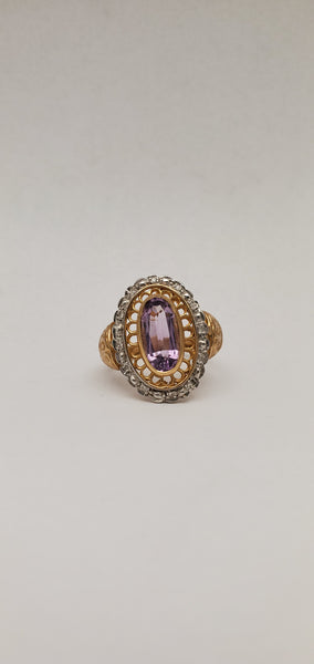 10k Amethyst Oval with Diamonds Ring