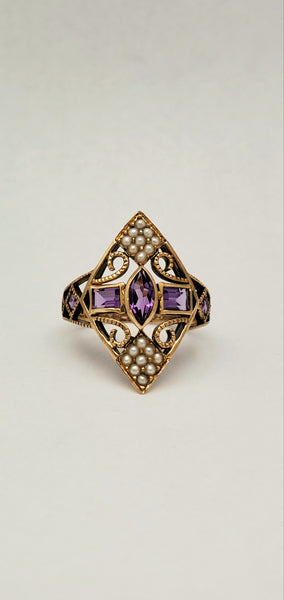 English Victorian Marquis Amethyst Pearl Ring 10K